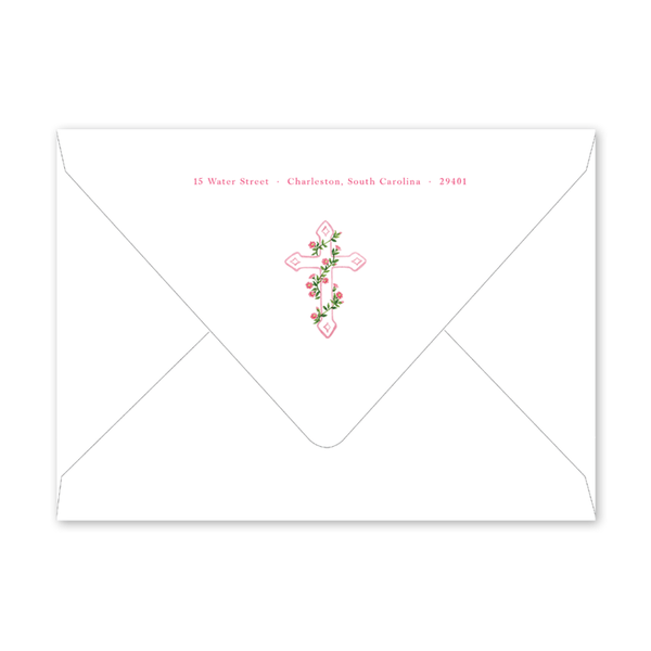 Morning Glory Pink Cross Birth Announcement Envelopes