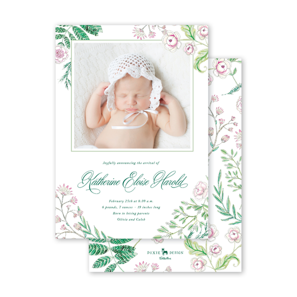 Caroline's Garden Birth Announcement