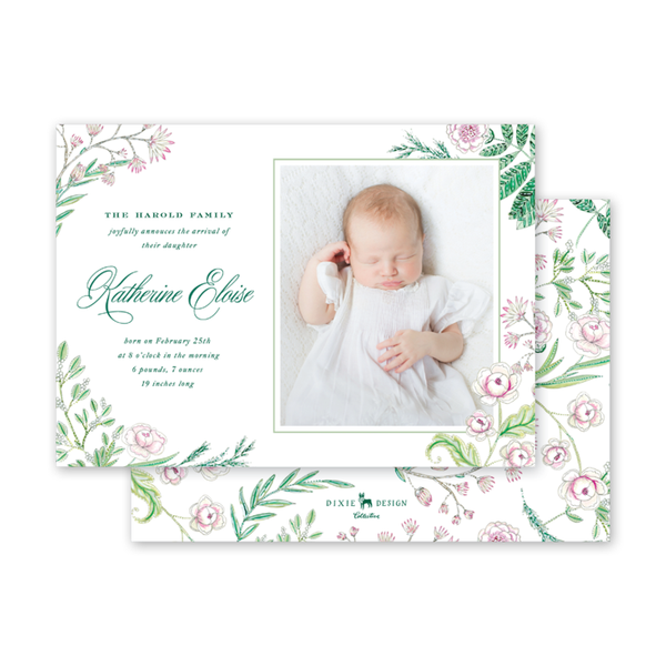 Caroline's Garden Landscape Birth Announcement