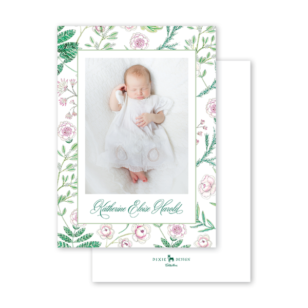 Caroline's Garden Border Birth Announcement