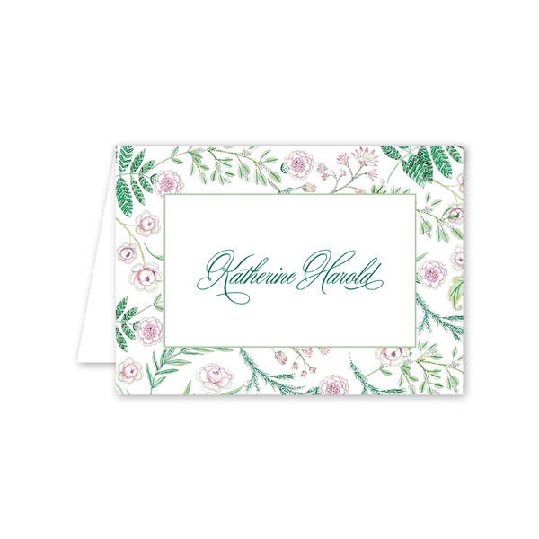 Caroline's Garden Border Folded Notecard