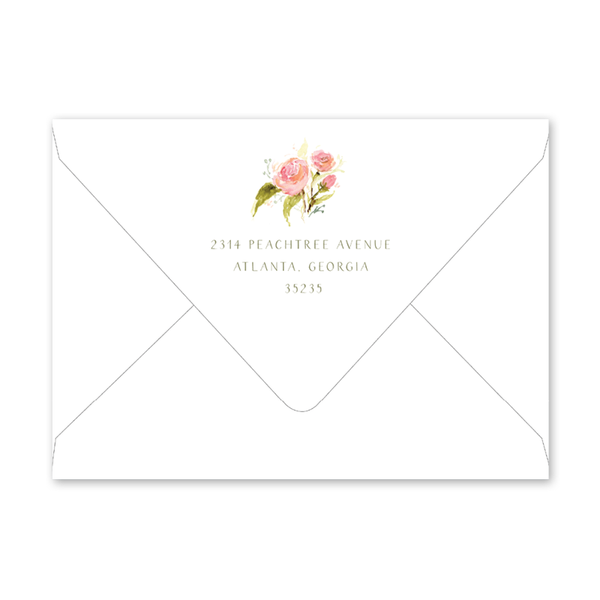 Feathers and Roses Bridal Shower Envelopes
