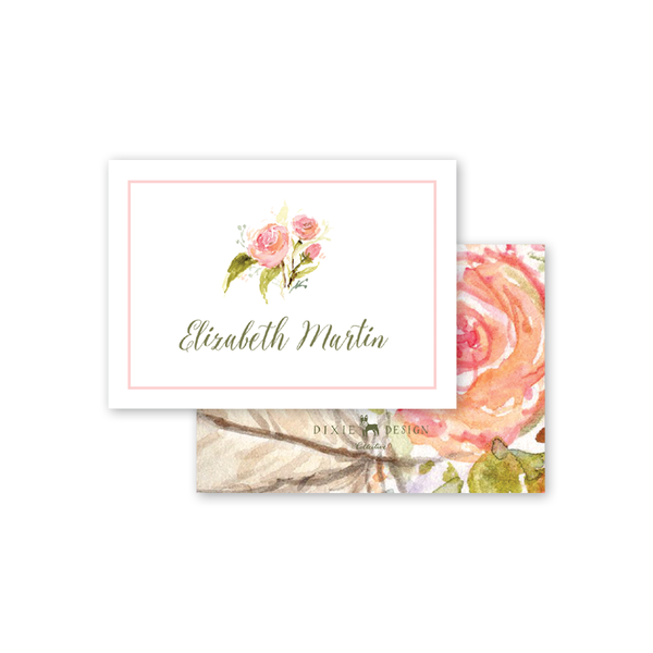 Feathers and Roses Calling Card