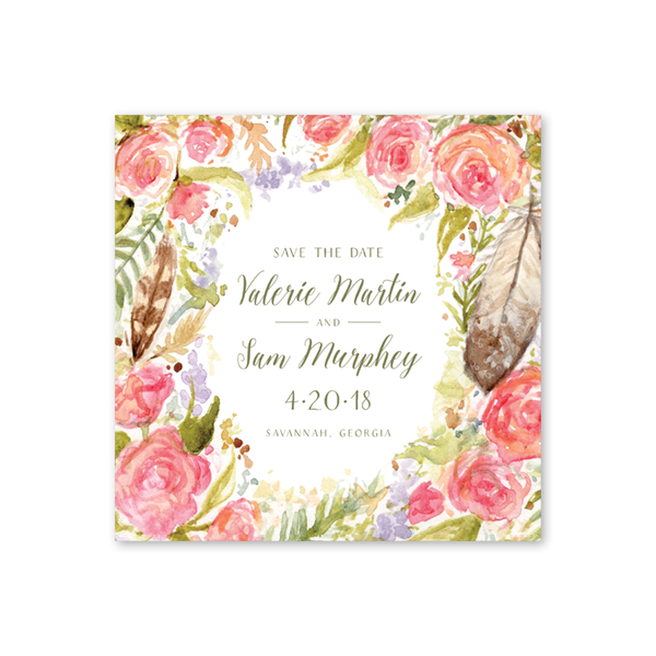 Feathers and Roses Save The Date