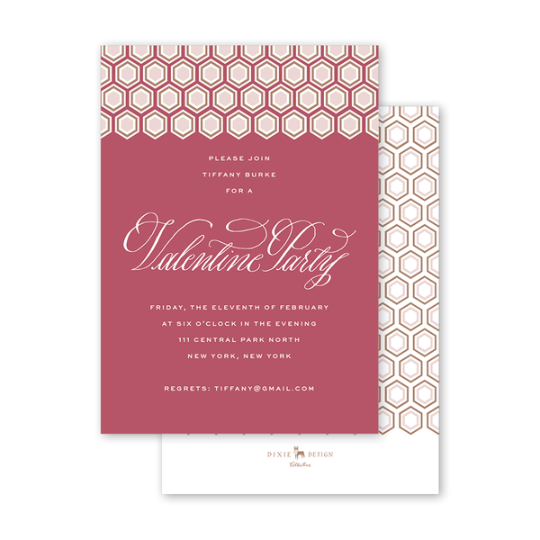 Valentine Hexagon Cranberry Invitation
