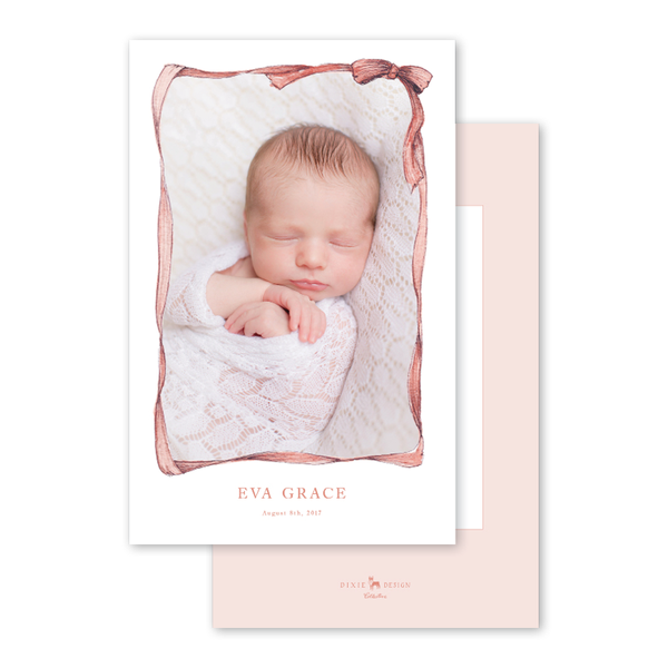 Bow Border Baby Pink