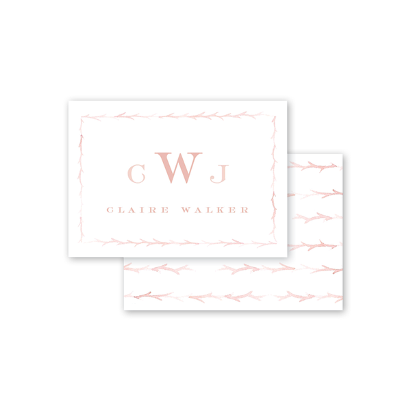Branches Blush Monogram Calling Card