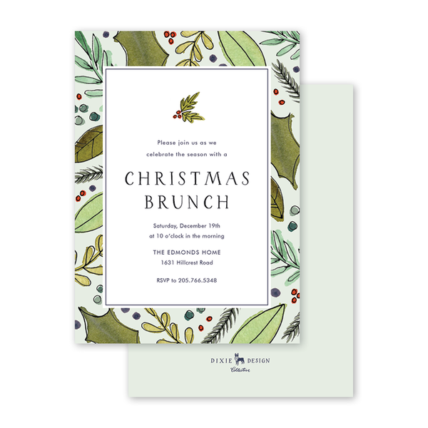 Festive Holly Invitation