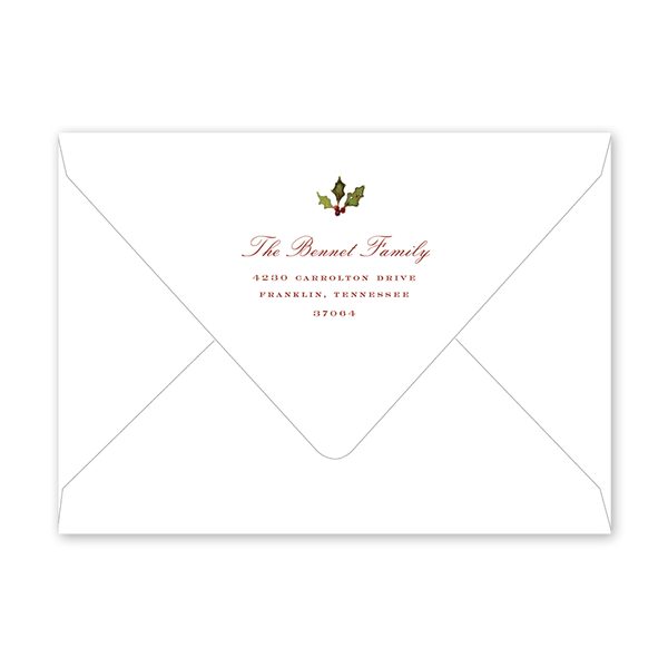 Holiday Flora Border Christmas Envelopes
