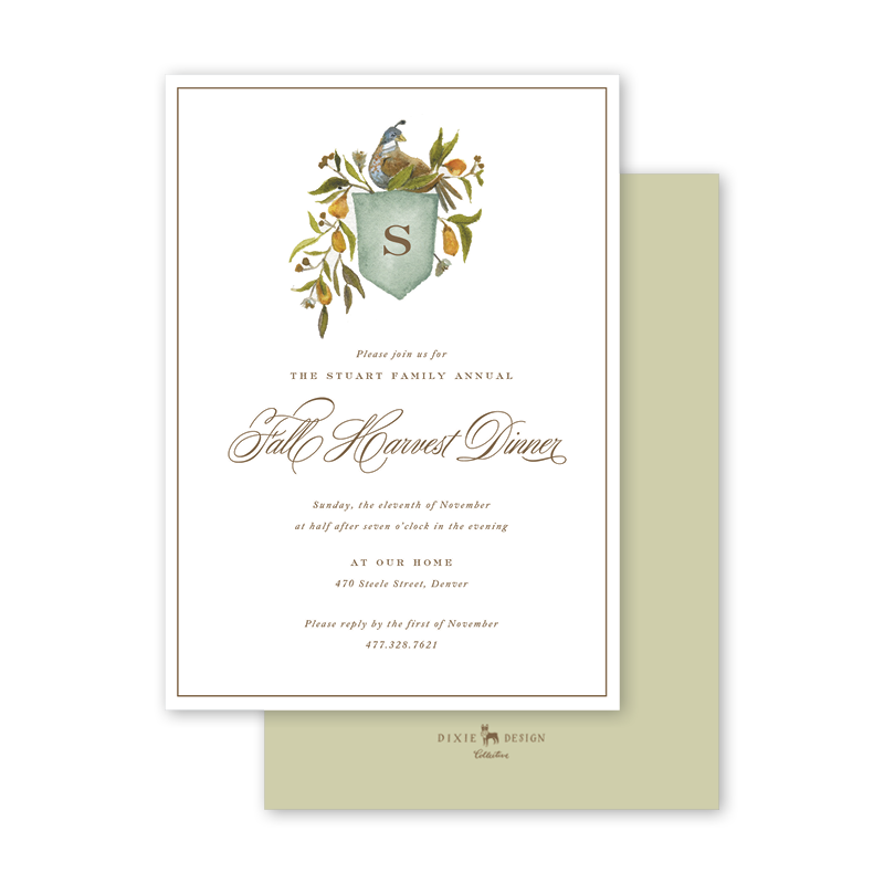 Holiday Partridge Crest Fall Invitation