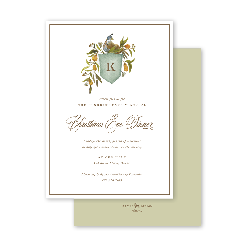 Holiday Partridge Crest Invitation