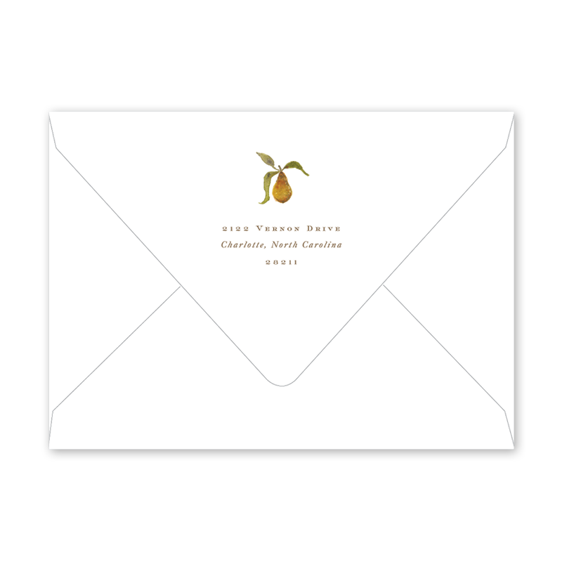 Holiday Partridge and Pear Border Envelopes