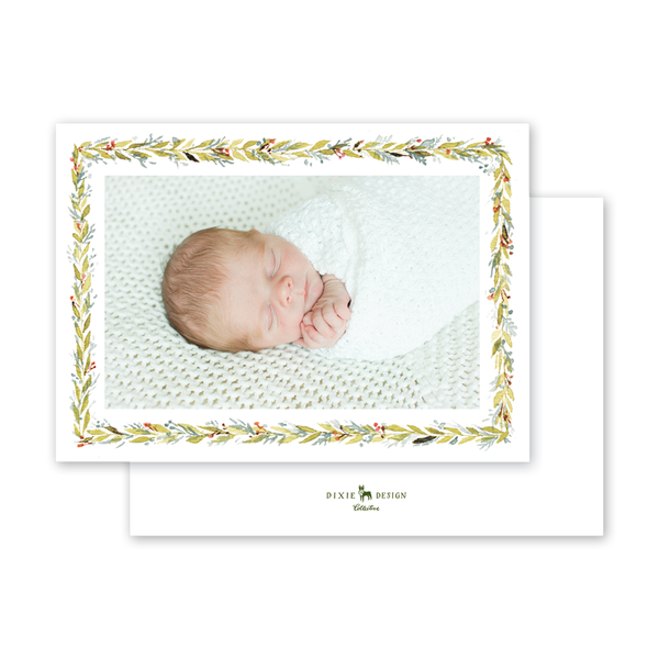 Pine and Berry Border Birth Announcement