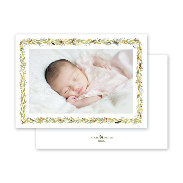 Pine and Berry Border Script Birth Announcement