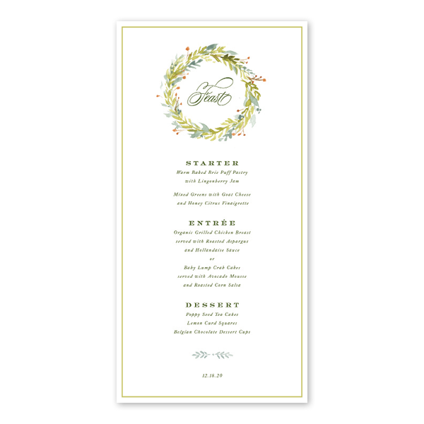 Pine and Berry Menu