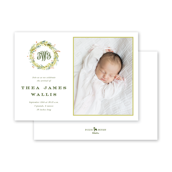 Pine and Berry Script Birth Announcement