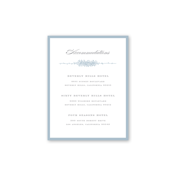 Beverly Blue Accommodations Card