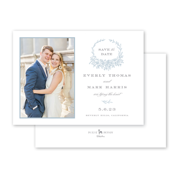 Beverly Blue Crest Save The Date with Photo