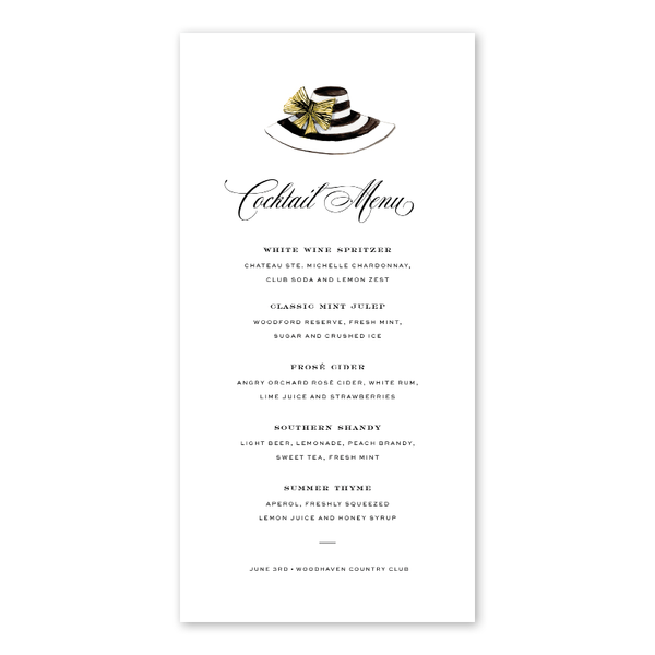 Derby Formé Stripe Menu