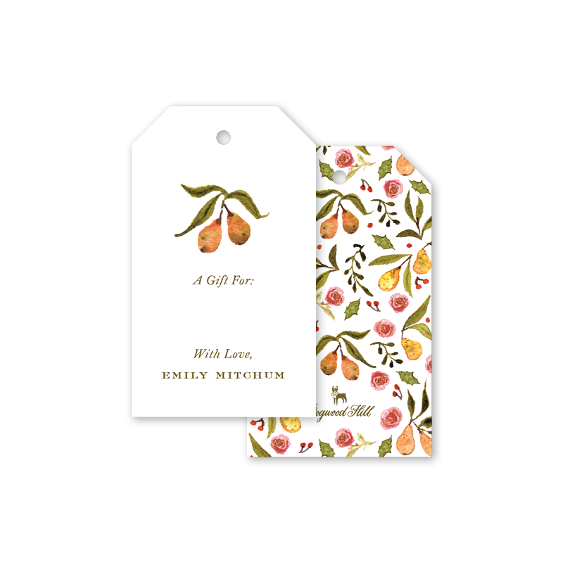 Partridge Crest Pear Gift Tags