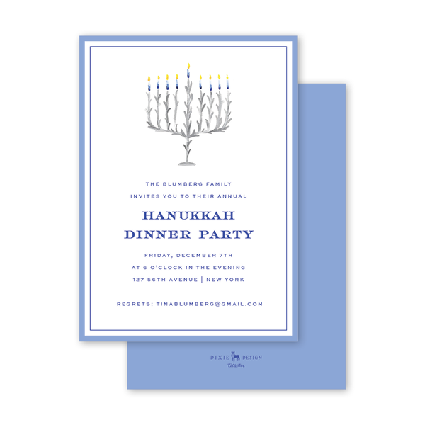 Chanukah Menorah Invitation