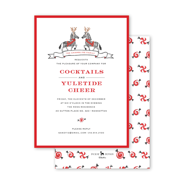 Christmas Zebras Invitation