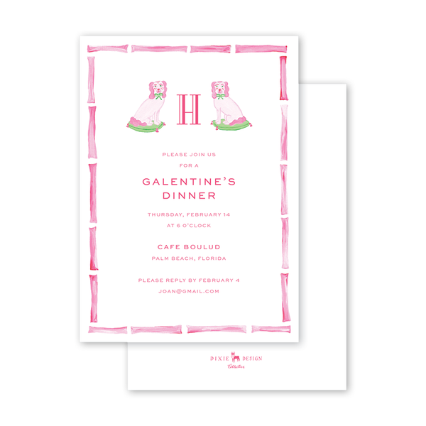 Pink Staffordshire Dogs Invitation