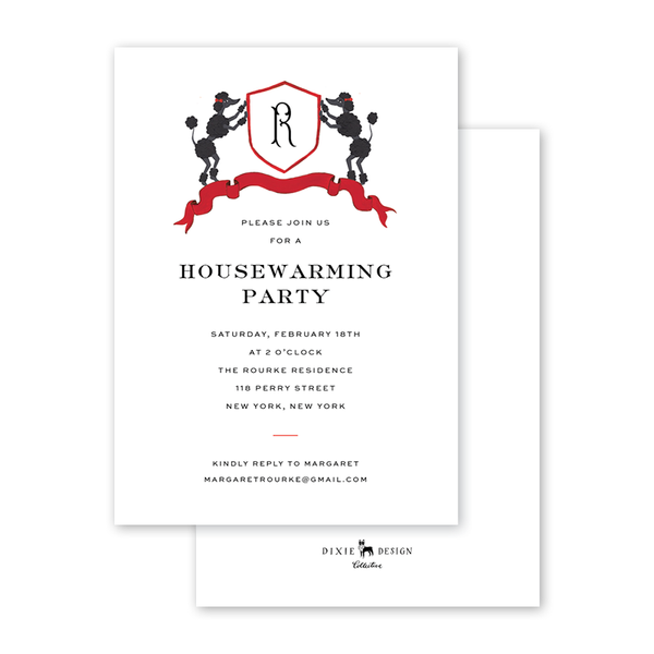 Vintage Poodles Monogram Invitation