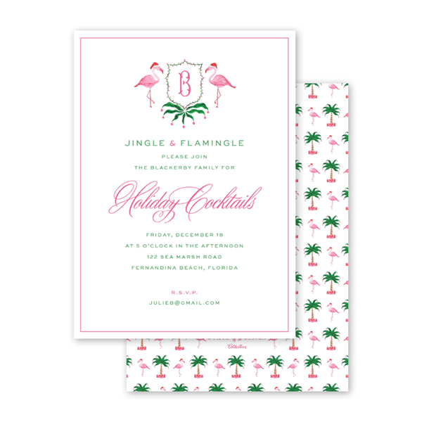 Christmas Flamingos Crest Invitation