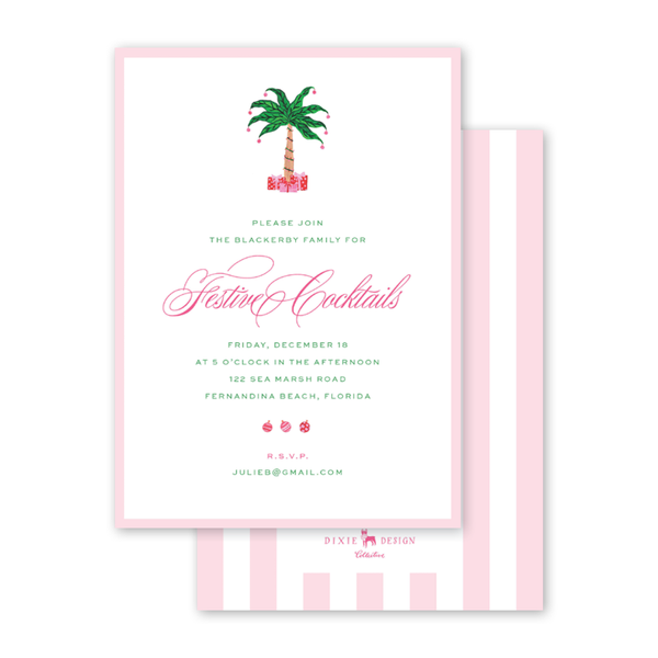 Christmas Flamingos Invitation