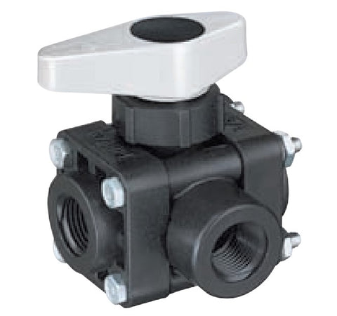 "Ball Valve - Series 343M-PP - 3 Way (3⁄8"" & ½"")"