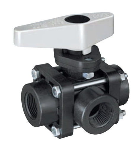 "Ball Valve - Series 344M-PP - 3 Way (¾"" & 1"")"