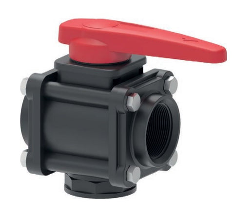 "3 Way Ball Valve - Series 453 Bottom Threading  (1/2"" to  3"")"