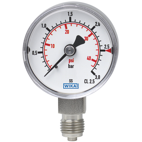Bourdon tube pressure gauge, stainless steel with dual scale bar/psi