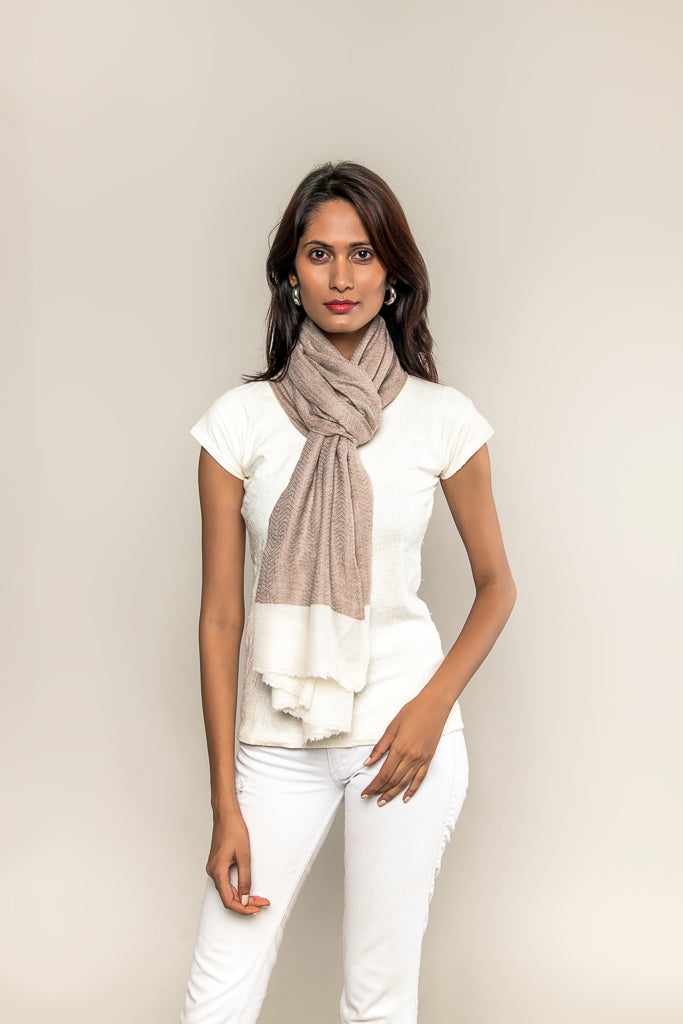 Handmade Pure Blended Pashmina Stole - Beige