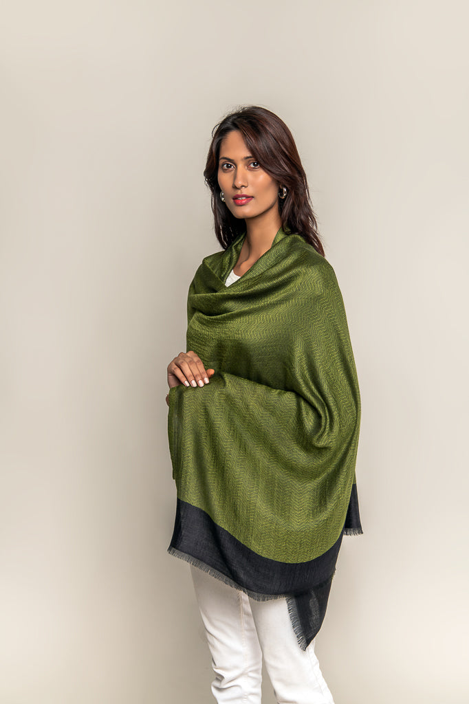 Handmade Pure Blended Pashmina Stole - Green Leaf