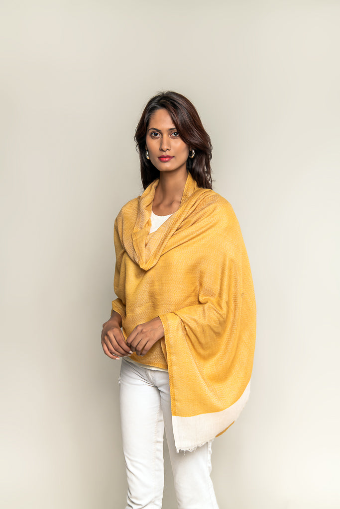 Handmade Pure Blended Pashmina Stole - Mustard & Off White