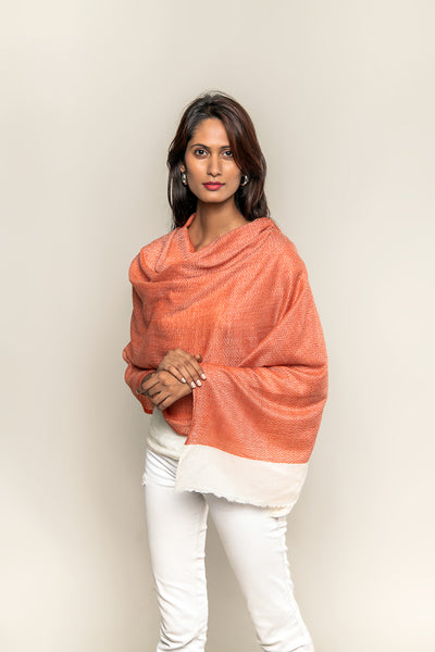 Handmade Pure Blended Pashmina Stole - Shades of Red Ochre and Off White colour