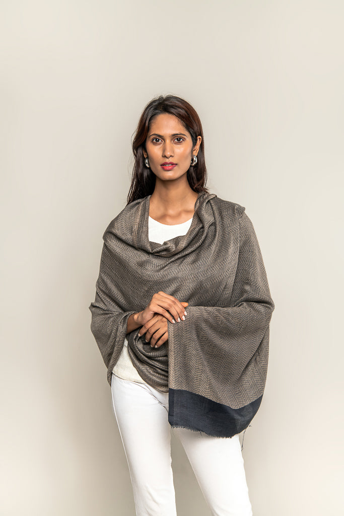 Handmade Pure Blended Pashmina Stole - Shades of Black & Brown