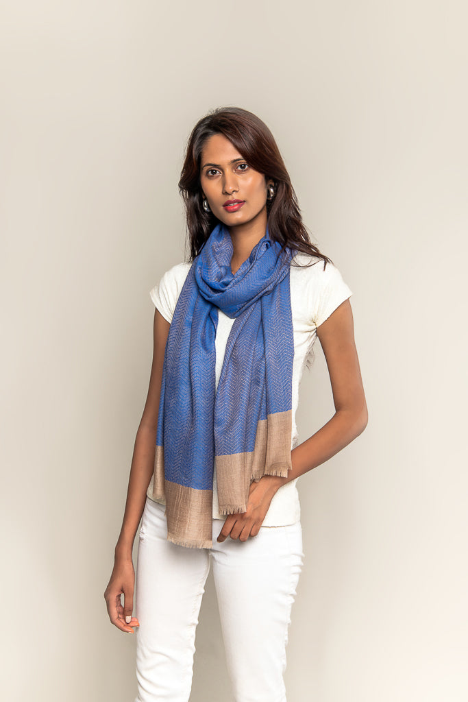 Handmade Pure Blended Pashmina Stole - Shades of Blue & Peanut