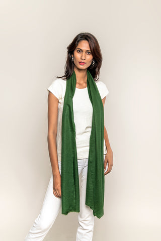 Handmade Pashmina / Cashmere stole - Pine Green color