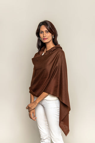 Handmade Pashmina / Cashmere stole - Chocolate Brown color