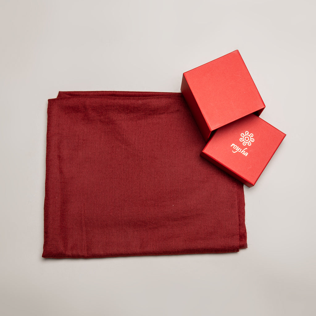 Handmade Pashmina / Cashmere stole - Maroon color