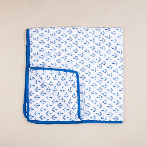 "Handmade Cotton Baby Swaddle Receiving Blanket 2 pack Blue & Turquoise 29""x 27.5"" FREE Burp Cloth"