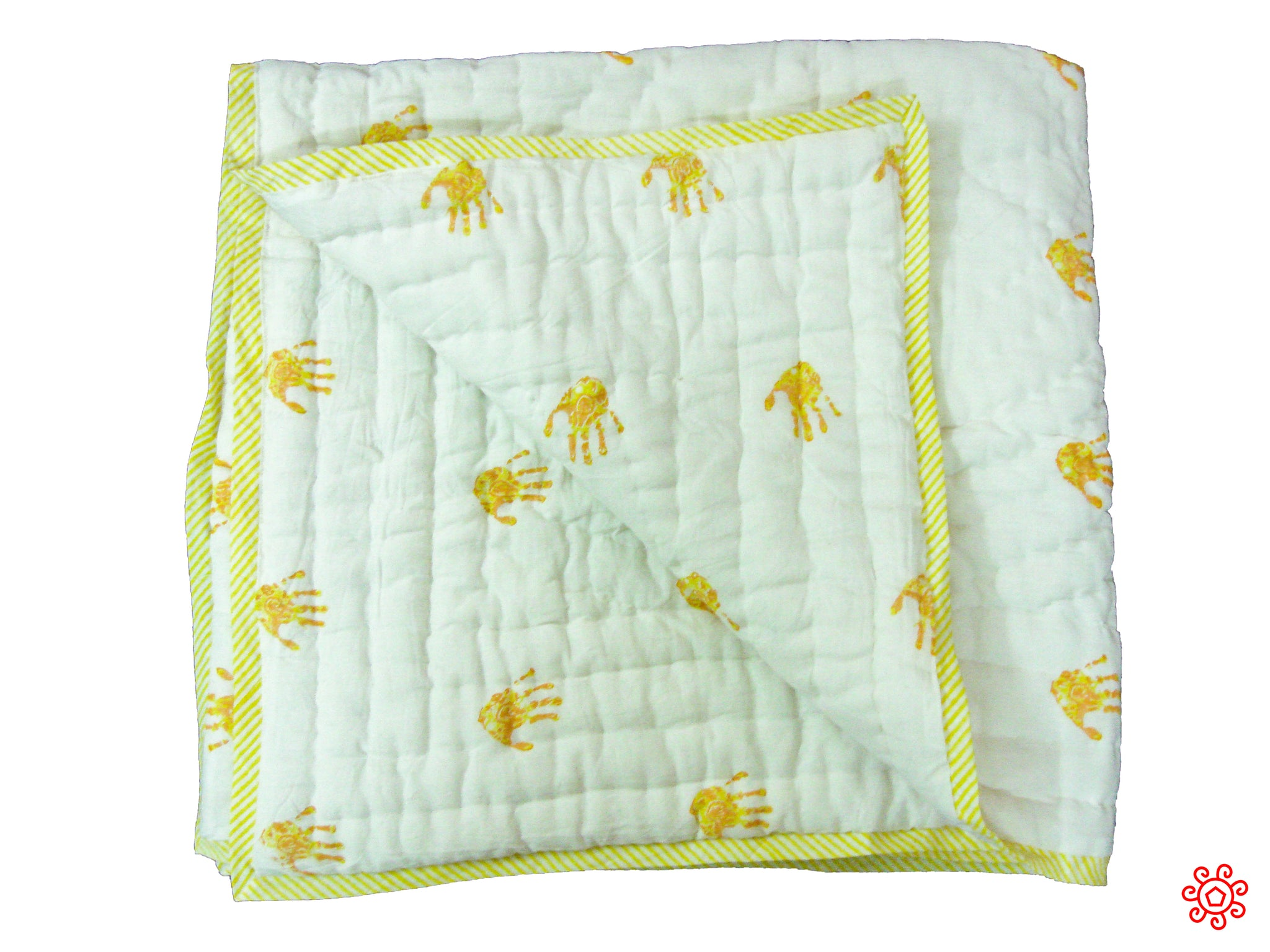 Handmade Block Printed Cotton Baby Quilt - Yellow Palm Prints
