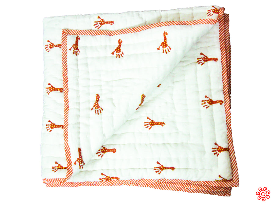 Handmade Block Printed Cotton Baby Quilt - Orange Giraffe