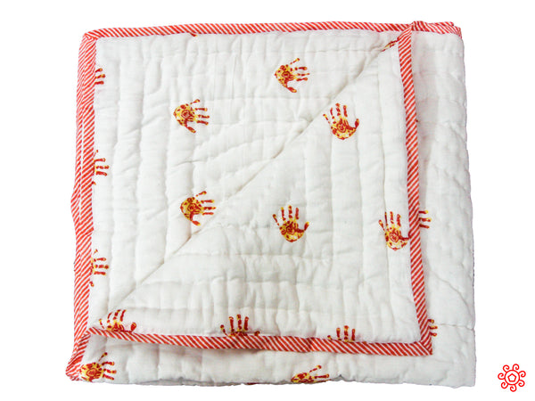 Handmade Block Printed Cotton Baby Quilt - Orange Palm Prints