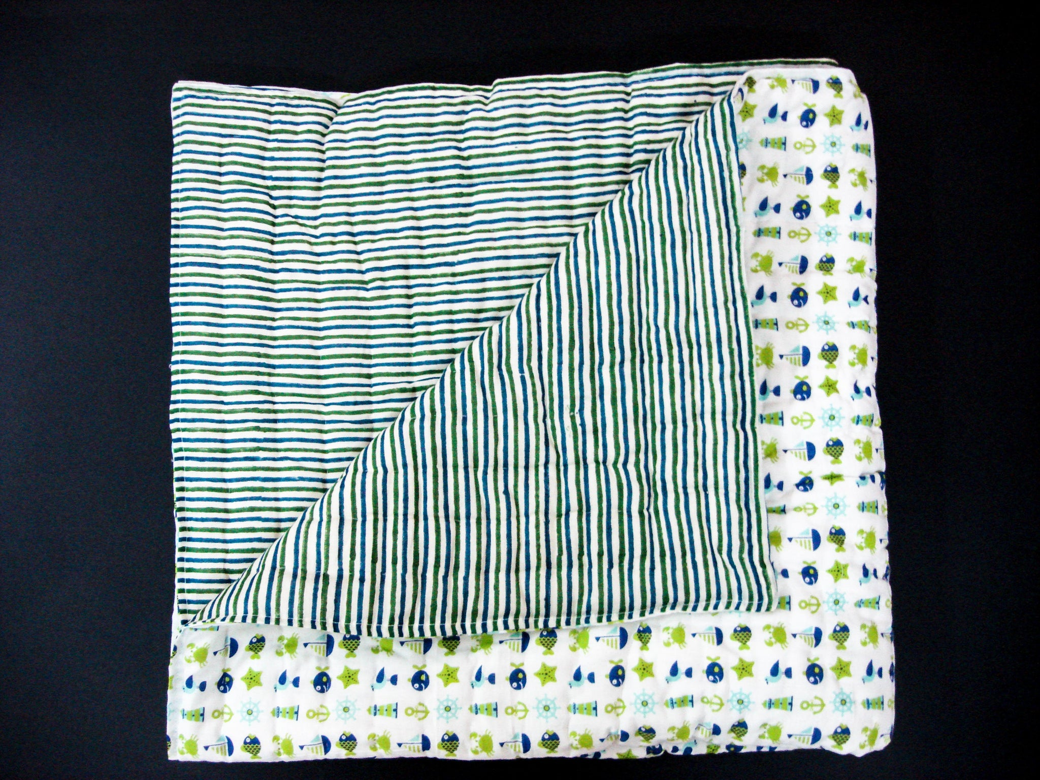 Handmade Block Printed Cotton Baby Quilt - Sailing and Fishing designs