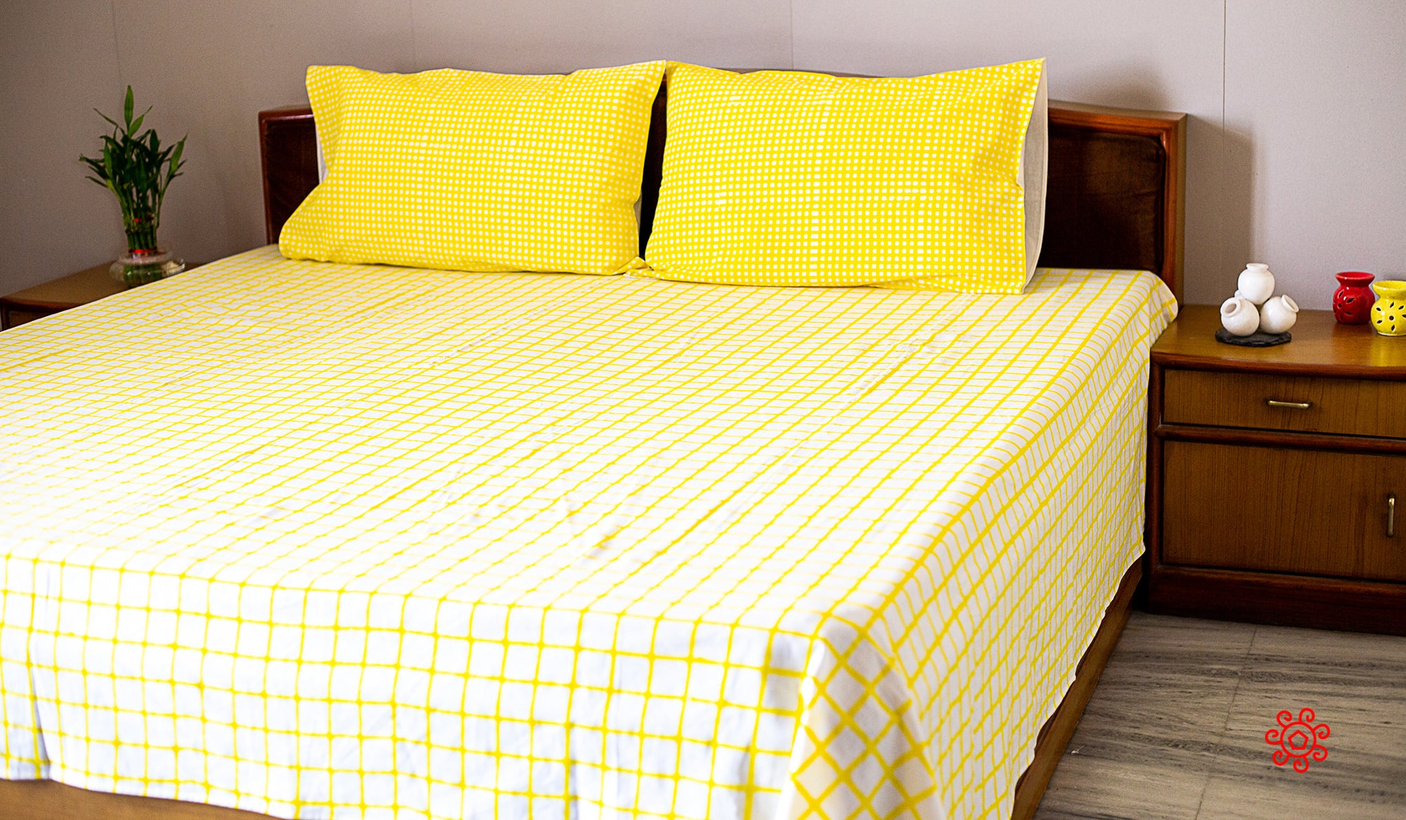 Roysha 2021 Bed Sheet/Flat Sheet/ Bed Linen Queen Size 100% Handmade, Hand Block Printed, Pure Cotton, Check Design, Room Decor Bright Yellow