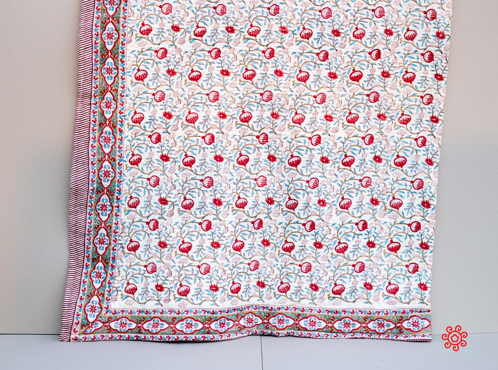 All Season Handmade Twin  Quilt, Jaipuri Block printed, Natural Cotton Queen Bedspread, 100% Cotton Throw, Quilted Bedcover, Room Decor Red